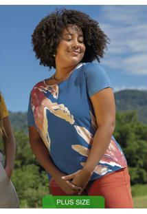 Blusa Com Decote Redondo E Estampa Azul