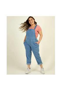 Macacão Plus Size Feminino Jeans Bolsos