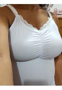 Camiseta De Amamentação Com Bojo Removível Branco G - Dica043 Dica De Lingerie