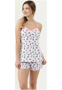 Pijama Feminino Estampado Alças Finas Disney