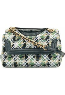Tory Burch Bolsa Tiracolo Fleming Pequena De Tweed - Verde