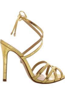 Sandália Salto Strings Gold.   Schutz