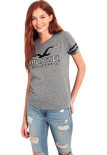 Camiseta Hollister Gráfica Feminina - Feminino-Cinza