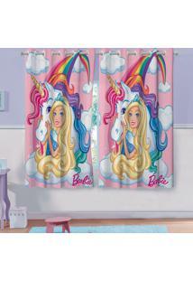 Cortina Com Ilhós Infantil Estampada Barbie Reinos Mágicos 1,50 M X 1,80 M Com 2 Peças Lepper Rosa