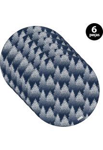 Capa Para Sousplat Mdecore Natal Pinheiros Azul 6Pçs