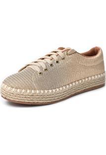Tênis Scarpan Calçados Finos Em Tecido Glitter Ouro