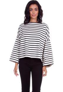 Camiseta Levis Feminina Mock Neck Sailor Listrada - Feminino-Branco+Preto