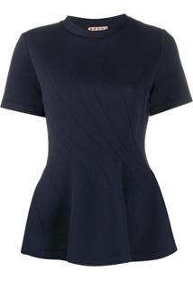 Marni Blusa Com Peplum E Costura Diagonal - Azul