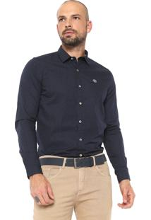 Camisa Timberland Reta Mini Dots Azul-Marinho