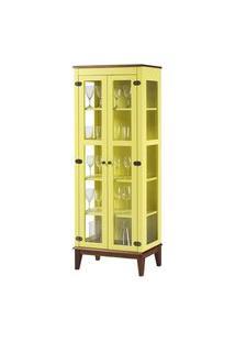 Cristaleira Bia 2 Portas Cor Amarelo Com Base Amendoa 180 Cm - 62928 Amarelo