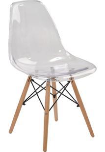 Cadeira Sem Braço Pc Base Madeira Eiffel -Rivatti - Incolor