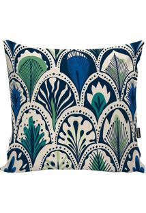 Capa Para Almofada Indian- Off White & Azul Escuro- Stm Home