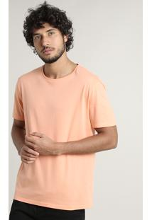 Camiseta Masculina Básica Comfort Fit Manga Curta Gola Careca Laranja Claro