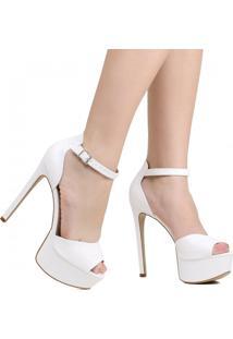 Sapato Peep Toe Zariff Noivas Meia Pata Salto Fino Branco
