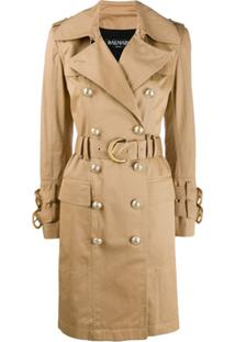 Balmain Trench Coat Com Cinto - Neutro