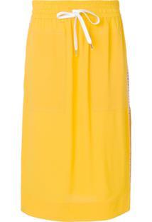 Nº21 Saia Midi Com Amarração - Amarelo