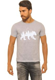 Camiseta Masculina Joss Florest Bear Branco Cinza