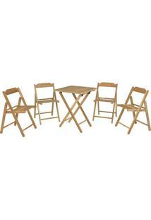 Jogo De Mesa Com Cadeiras Beer- Natural- 5Pã§S- Ttramontina