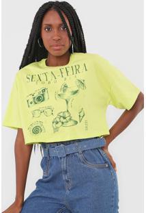 Camiseta Cropped Colcci Sexta-Feira Verde