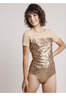 Body Feminino Mindset Em Tule Com Paetê Manga Curta Decote Redondo Dourado