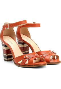 1b8511479c ... Sandália Couro Shoestock Salto Grosso Fachetado Feminina -  Feminino-Laranja