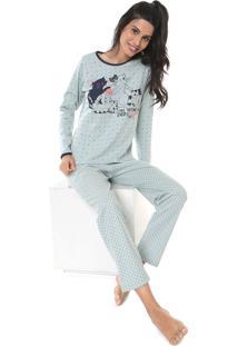 Pijama Pzama Gatos Verde/Azul-Marinho