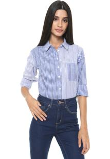 Camisa Colcci Angélica Branca/Azul