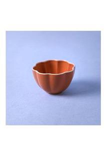 Vaso Em Cerâmica Cor: Laranja - Tamanho: Único