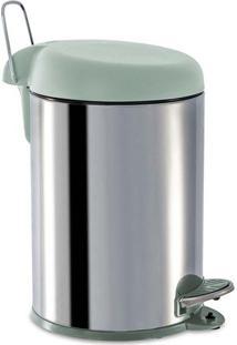 Lixeira Com Pedal- Inox & Verde Claro- 33,5X23X22,5Cbrinox