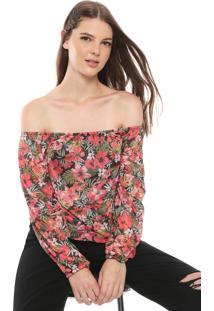 Blusa Billabong Too Flower Laranja/Rosa