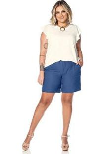 Short Crepe Secret Glam Feminino - Feminino-Azul