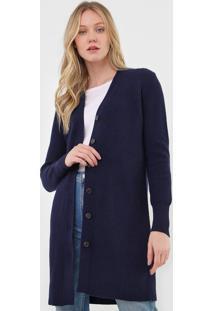 Maxi Cardigan Lã Polo Ralph Lauren Tricot Botões Azul-Marinho - Kanui