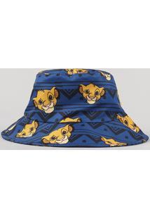 Chapéu Infantil Estampado Simba O Rei Leão Azul Marinho