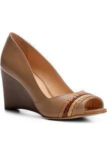 Peep Toe Couro Shoestock Anabela Tranças - Feminino-Bege