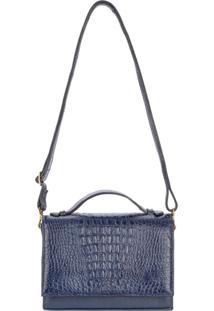 Bolsa Pequena Tiracolo De Couro Croco Deise - Azul Azul - Azul - Feminino - Dafiti