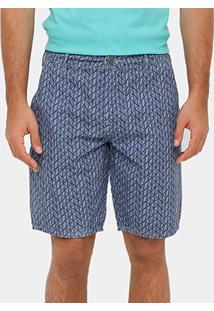 Bermuda Sommer Bolso Faca Full Print Masculina - Masculino-Azul