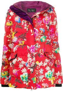 Etro Jaqueta Matelassê Com Estampa Floral - Vermelho