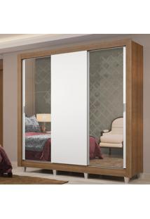 Guarda-Roupa Casal Madesa Lyon Plus 3 Portas De Correr Com Espelhos 4 Gavetas Com Pés Marrom
