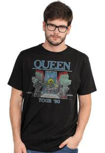 Camiseta Bandup Queen Tour 80' - Masculino-Preto