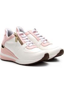 Tênis Jogging Santa Lolla Zíper Feminino - Feminino-Rosa+Branco