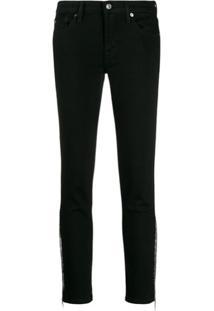 7 For All Mankind Calça Jeans Com Franja E Tachas - Preto