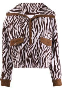 House Of Sunny Zebra Print Jacket - Marrom