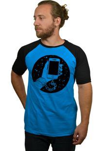 Camiseta Raglan Hshop Slave Azul Turquesa E Preto