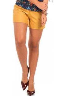 Short Floriá Liso Feminino - Feminino-Amarelo