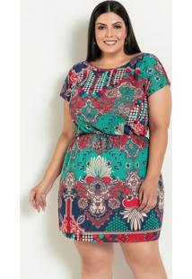 Vestido Com Amarração Estampa De Lenço Plus Size