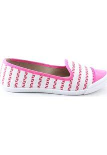 Sapatilha Moleca Slipper Listrado Tecido Verniz Feminina - Feminino-Pink