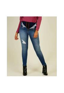 Calça Jeans Skinny Feminina Puido Super Lipo Sawary