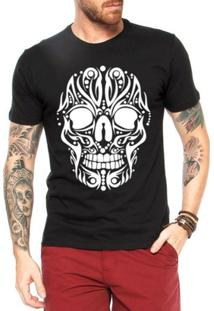Camiseta Criativa Urbana Caveira Tattoo Tribal Cartas - Masculino