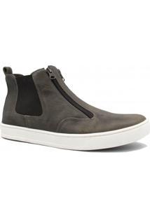 Bota Zariff Shoes Casual Em Couro Zíper