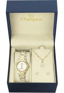 Kit Relógio Champion Feminino - Ch25203W - Feminino-Dourado